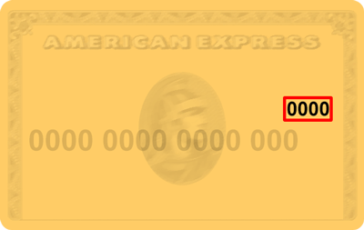 Example of CVV code location on American Express